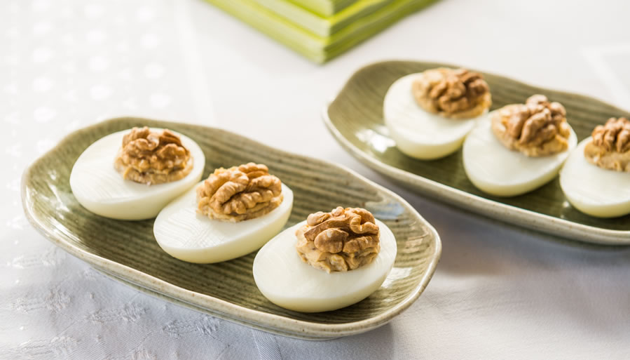 Walnut Stuffed Eggs